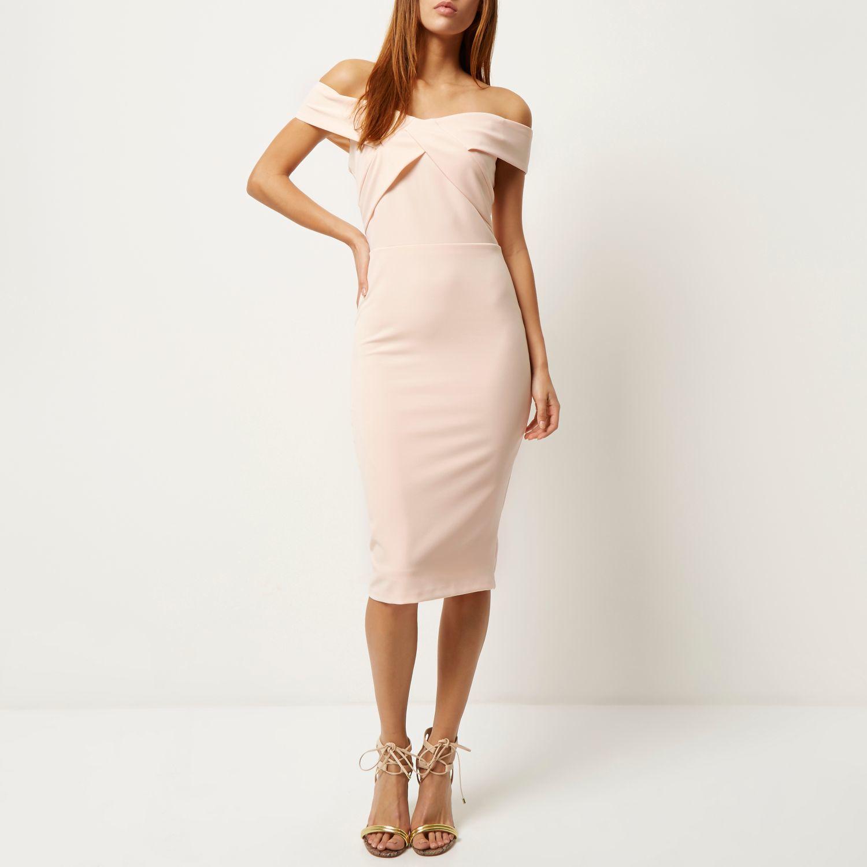 cdab1321ccd4b River Island Nude Pink Bardot Bodycon Pencil Dress in Pink - Lyst