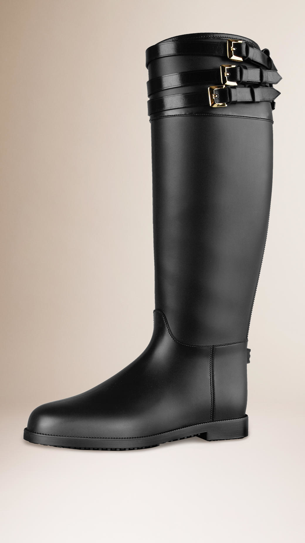 Burberry Belted Equestrian Rain Boots in Black | Lyst