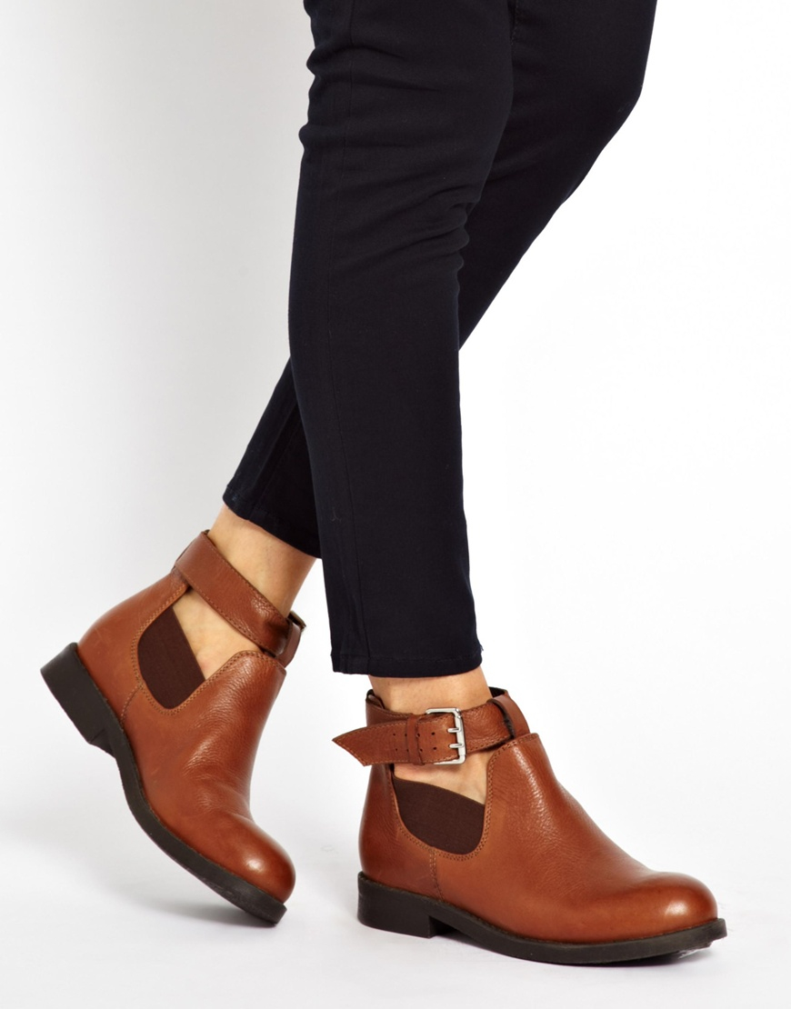 Asos Ascot Leather Cut Out Ankle Boots in Brown | Lyst