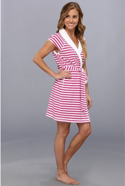 Betsey Johnson Baby Terry Robe in Pink Pink White Stripe