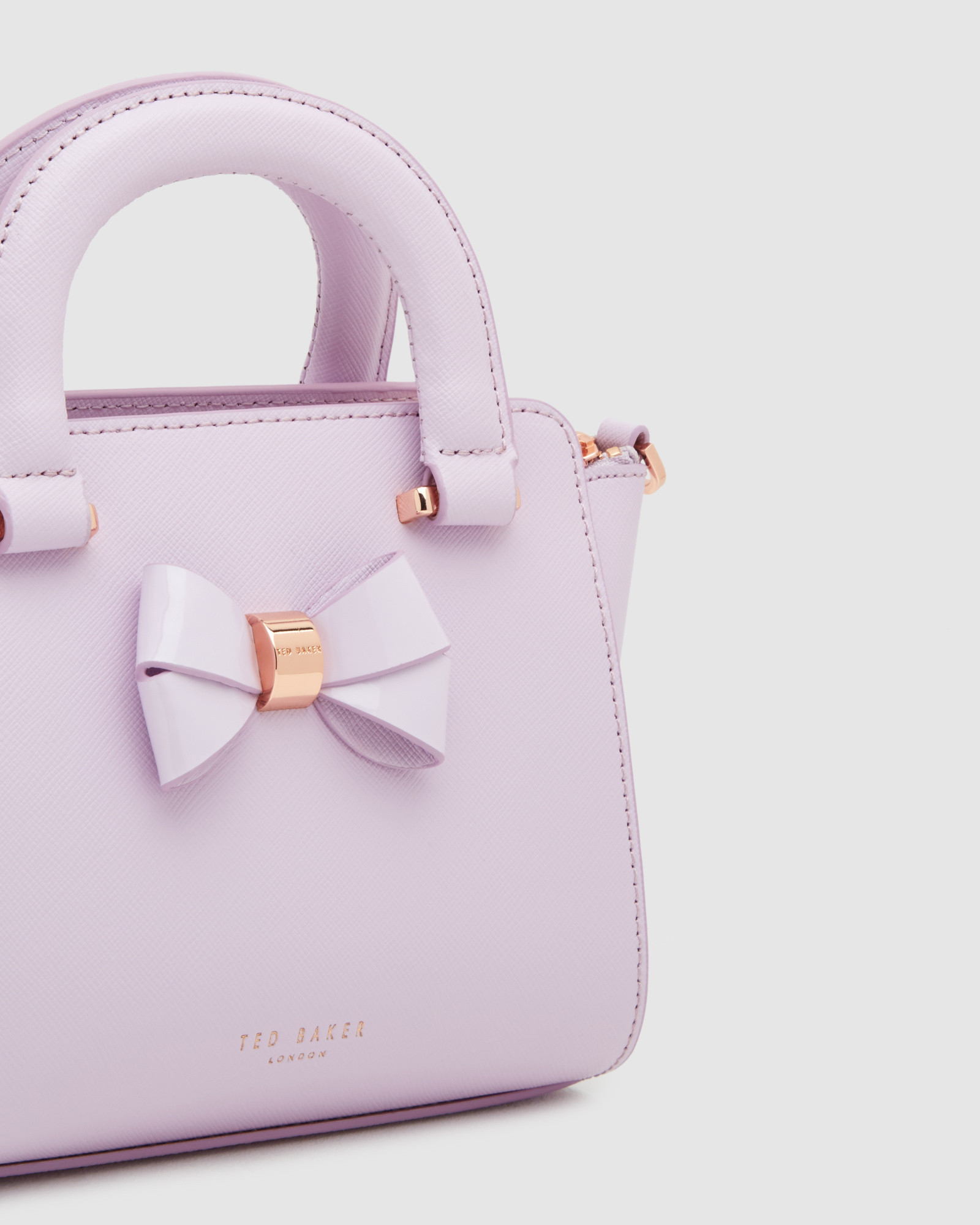 945215cbe Lyst - Ted Baker Mini Bow Crosshatch Leather Shopper Bag in Purple