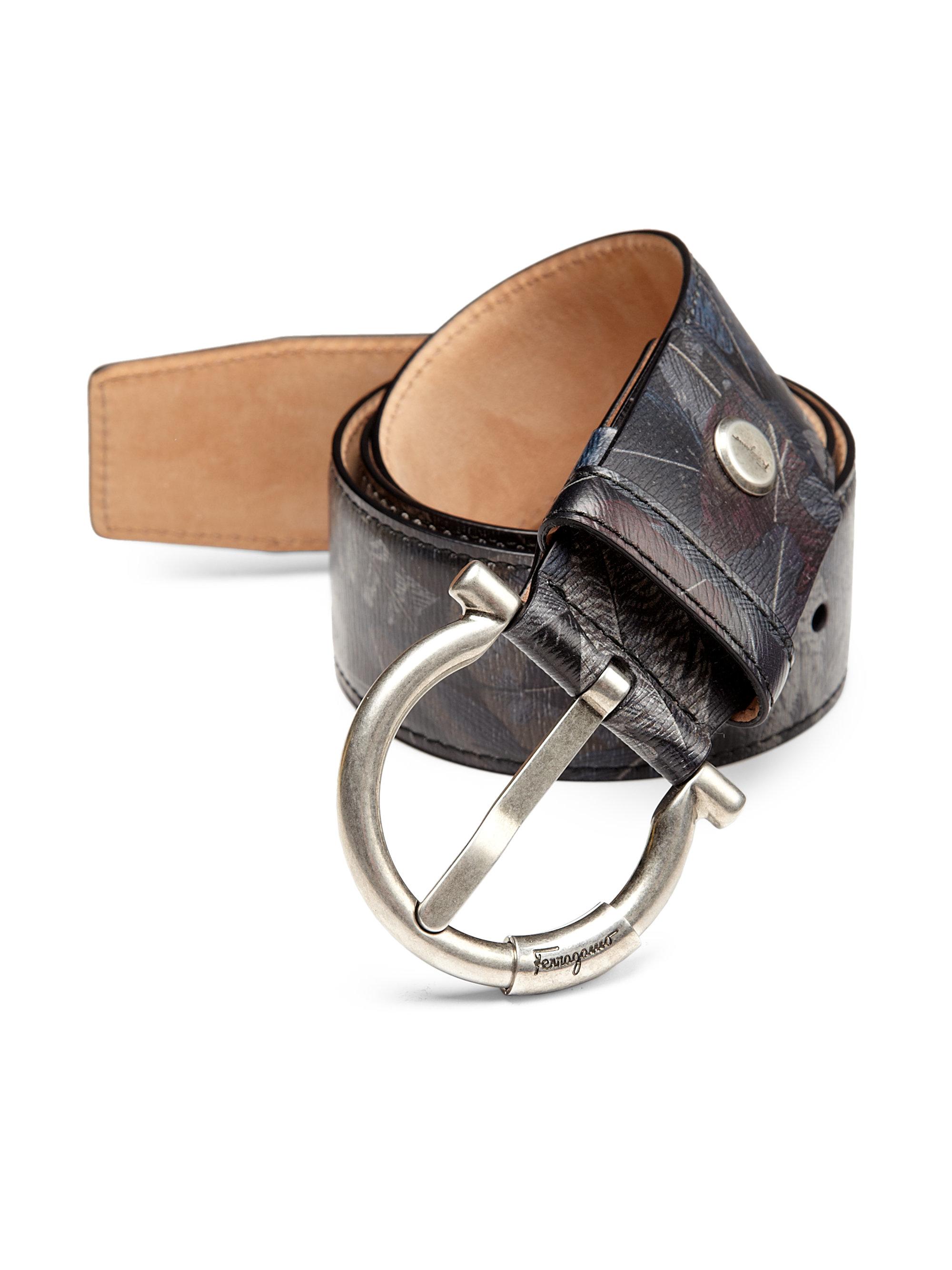 e6b64dbb48bff ... aliexpress lyst ferragamo piume adjustable feather print leather belt  for men 642be 0cd92