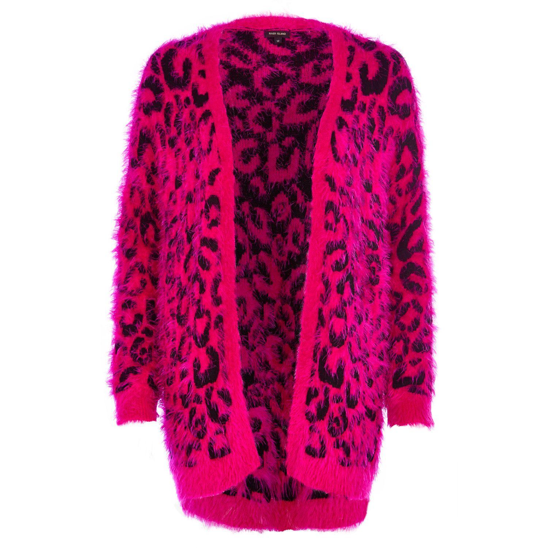 River island Bright Pink Leopard Print Fluffy Cardigan in Pink | Lyst