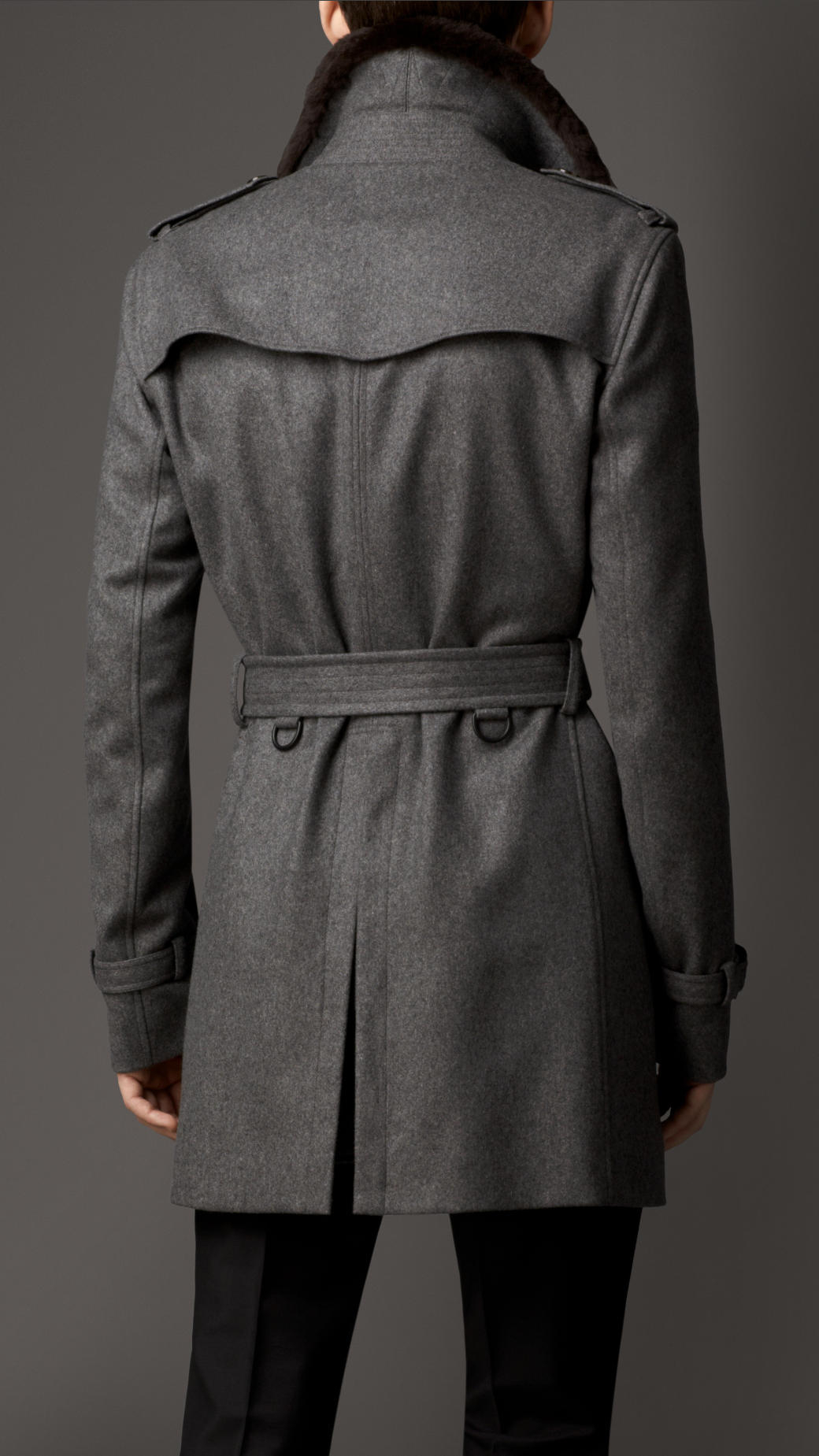 lyst burberry fur collar cashmere trench coat in gray. Black Bedroom Furniture Sets. Home Design Ideas
