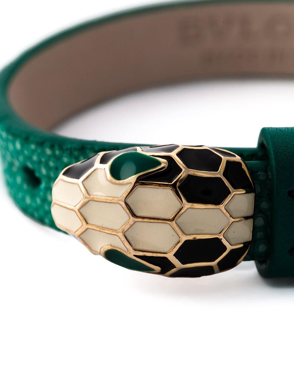 Lyst Bvlgari Leather Snake Bracelet In Green