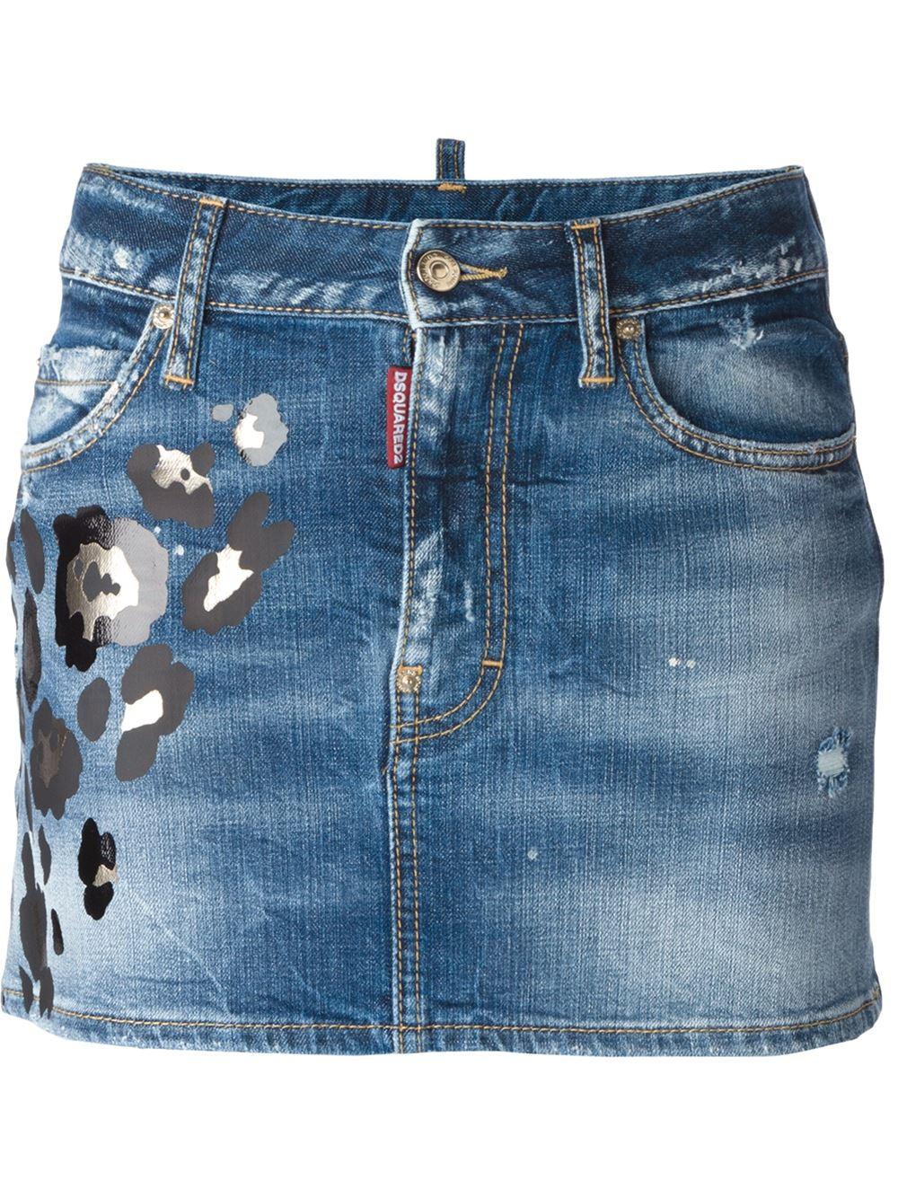 dsquared 178 leopard print denim skirt in blue lyst