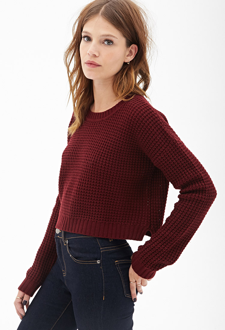 5c303ae805 Lyst - Forever 21 Cropped Waffle Knit Sweater in Red