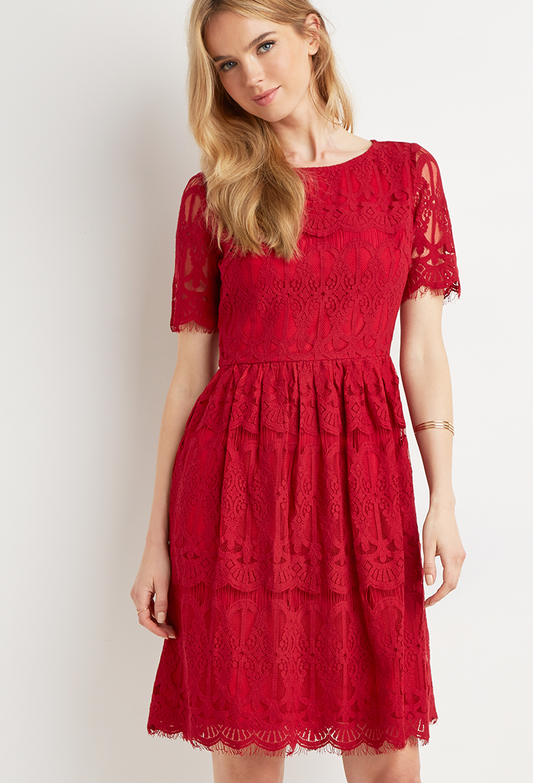 Forever 21 Eyelash Lace A-line Dress in Red | Lyst