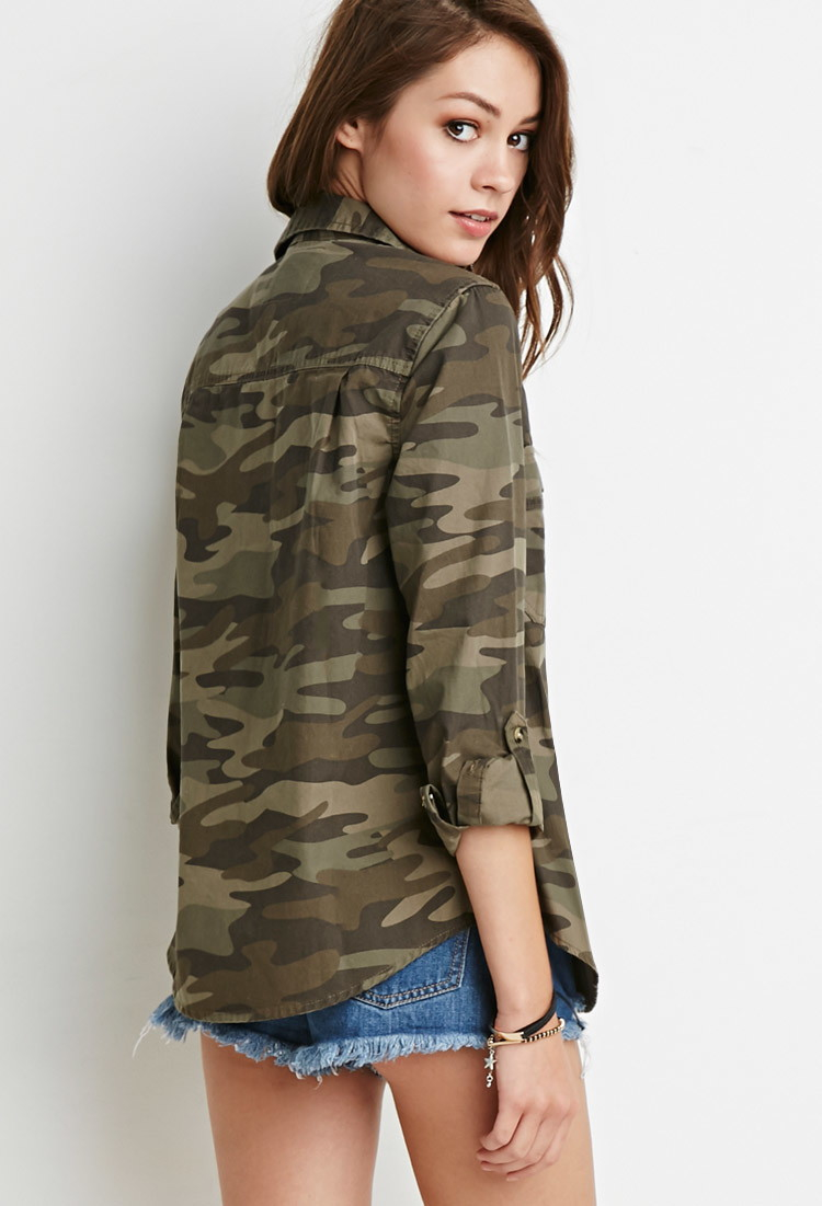 Innovative Forever 21 Stretchy Camo Pants In Green (Dark Olive/taupe ...