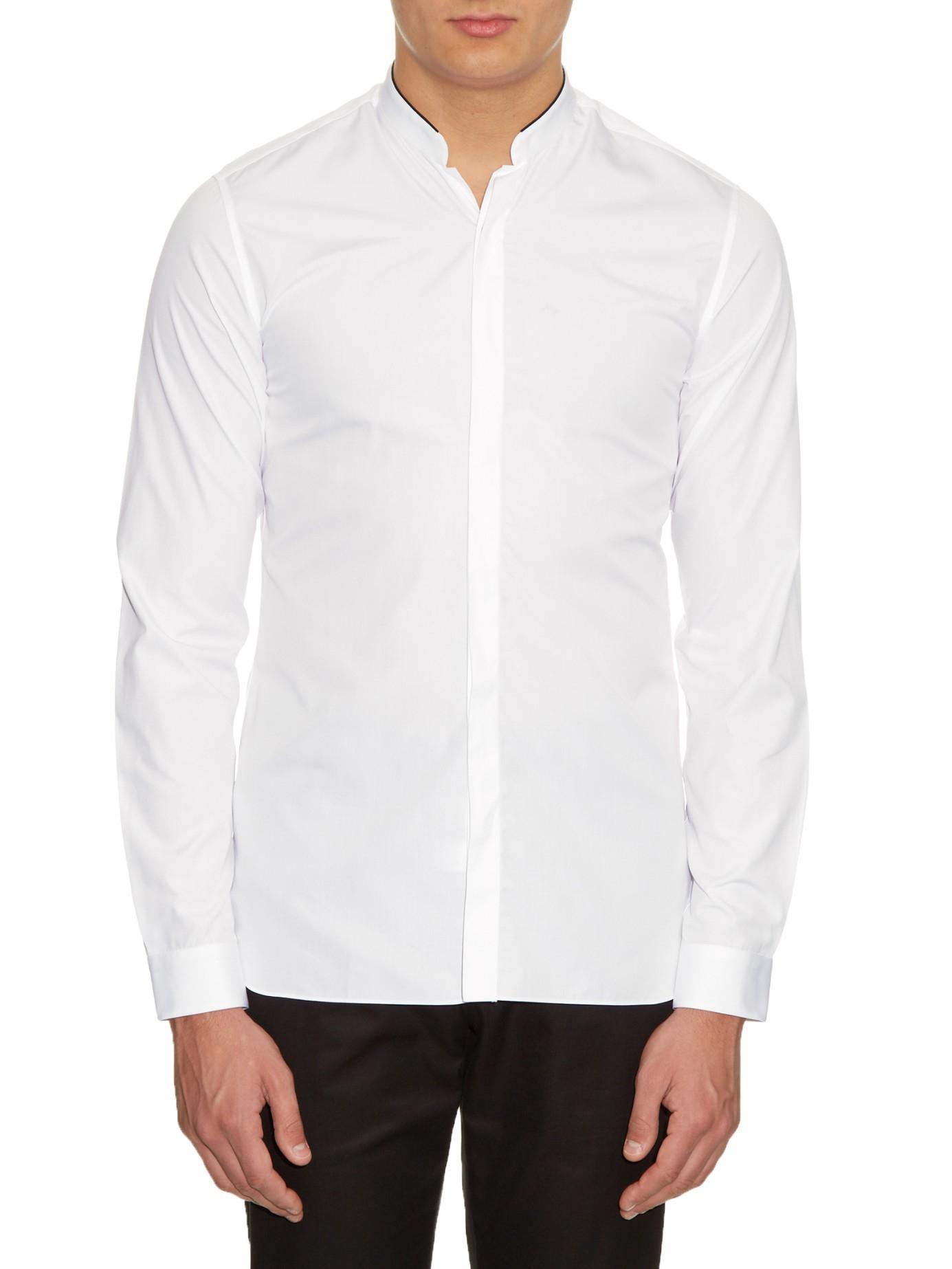 Lanvin mandarin collar button cuff cotton shirt in white for White shirt with collar pin