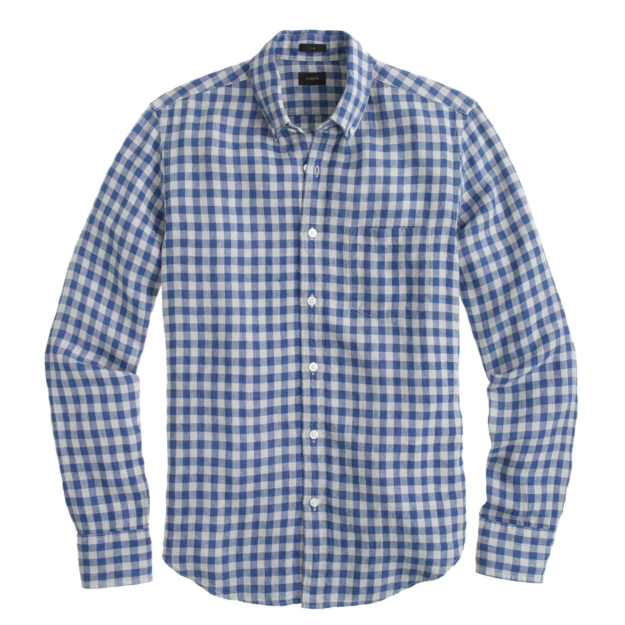 Boy shirt in crinkle gingham in blue for men lyst for Irish linen dress shirts