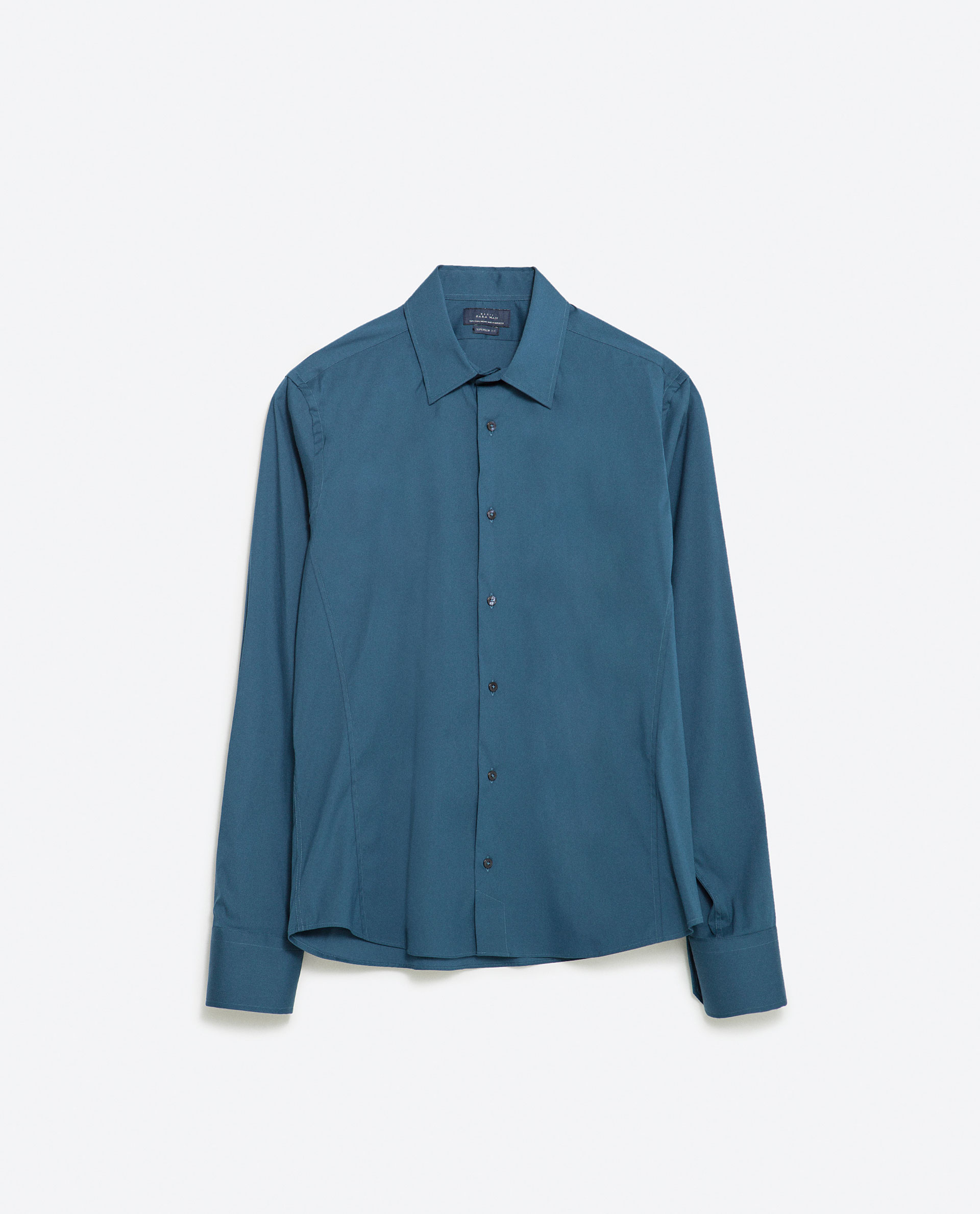 Zara Stretch Shirt in Blue for Men (Petrol blue) | Lyst