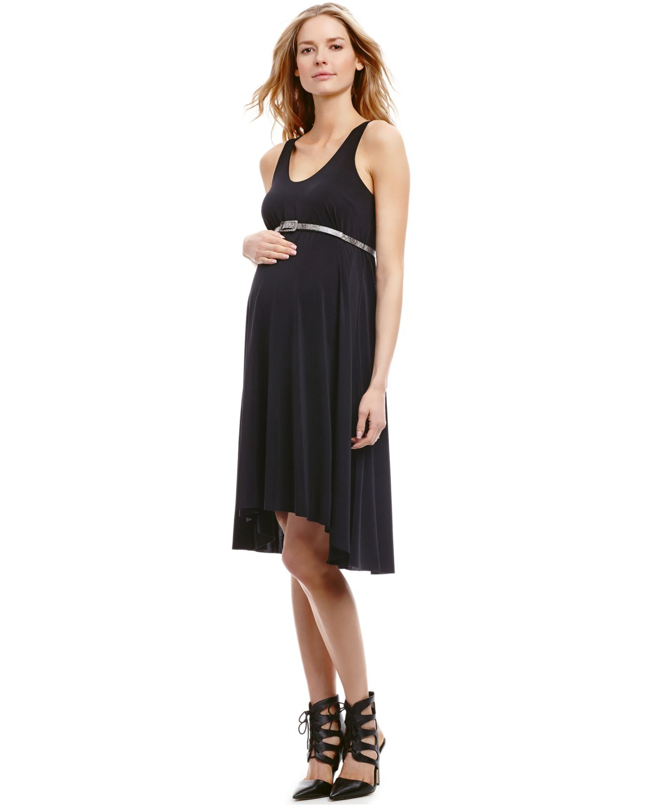 Jessica simpson maternity high low belted maternity tank dress in gallery ombrellifo Gallery