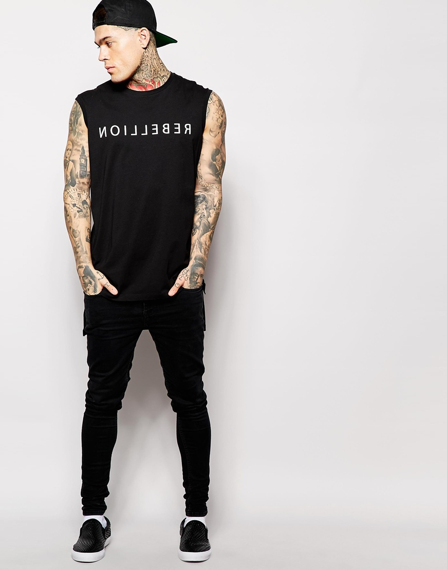 7b1bff4667b542 Lyst - ASOS Super Longline Sleeveless T-shirt With Typographic Print And Stepped  Hem in Black for Men