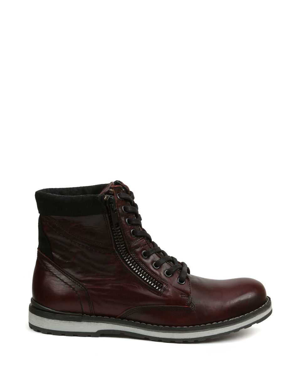gbx dern leather lace up and zip boots in brown for lyst