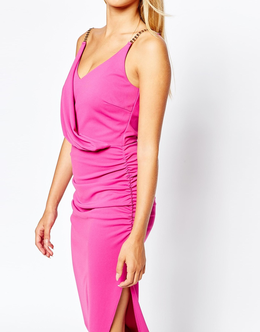 Lyst - Lipsy Michelle Keegan Loves Ruched Front Maxi Dress With ...