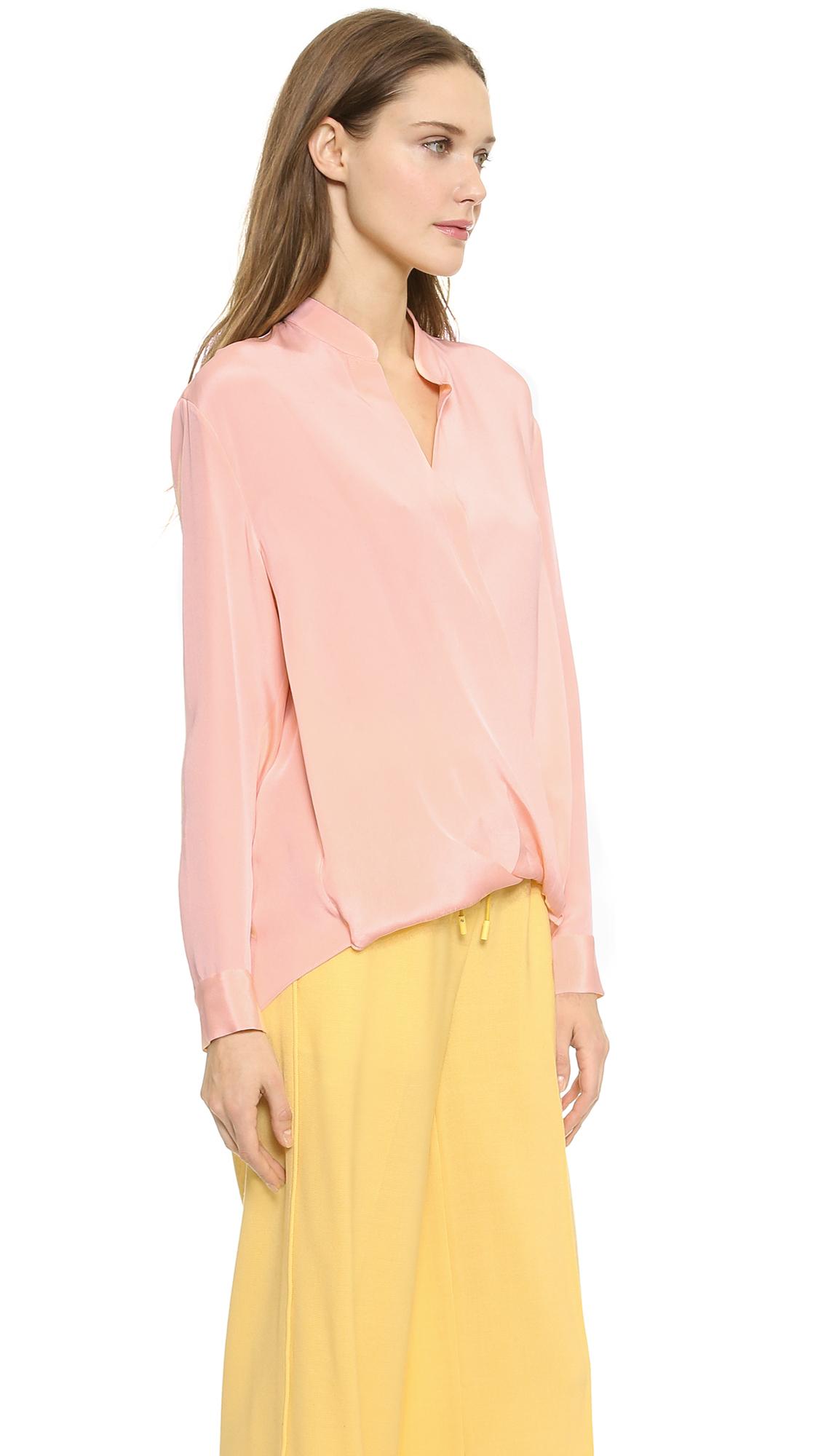 5c4b94d246561 Lyst - 3.1 Phillip Lim Silk Tuck Drape Blouse - Peach Puff in Pink