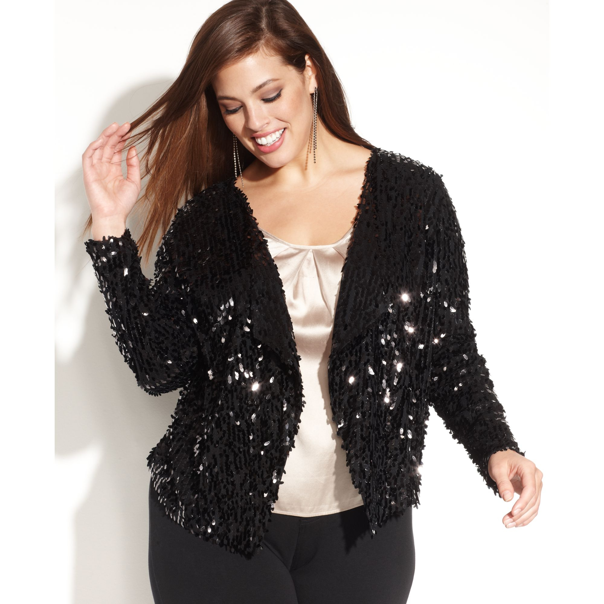 Inc international concepts Plus Size Openfront Sequin Jacket in ...