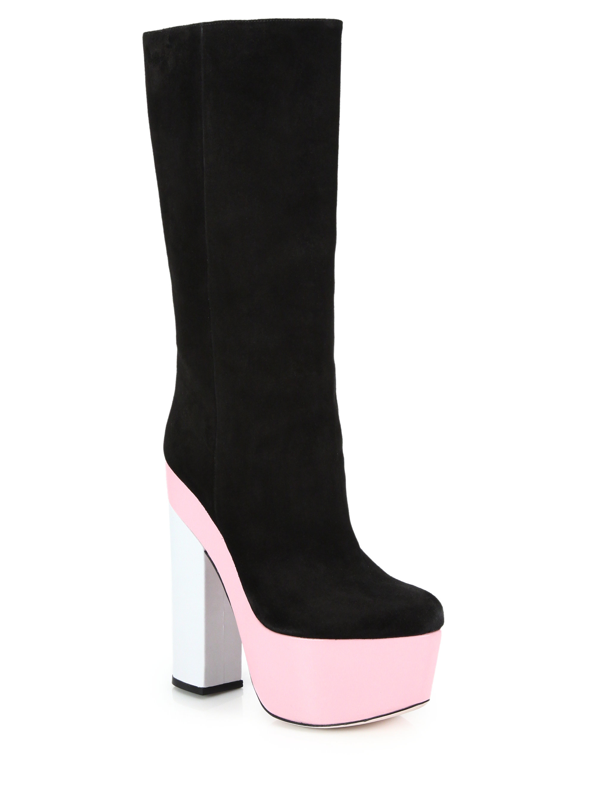 giamba suede leather colorblock platform boots in black