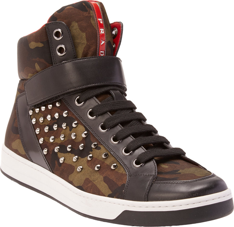 buy cheap new arrival Prada Sport Camo High-Top Sneakers buy cheap original outlet official extremely cheap price high quality 3iIhSfr6M