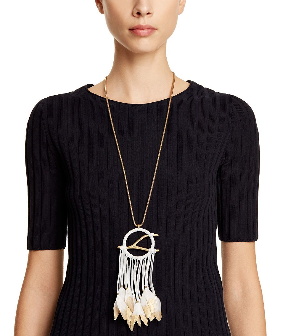 Lyst tory burch dream catcher pendant necklace in metallic gallery womens leather necklaces mozeypictures Images