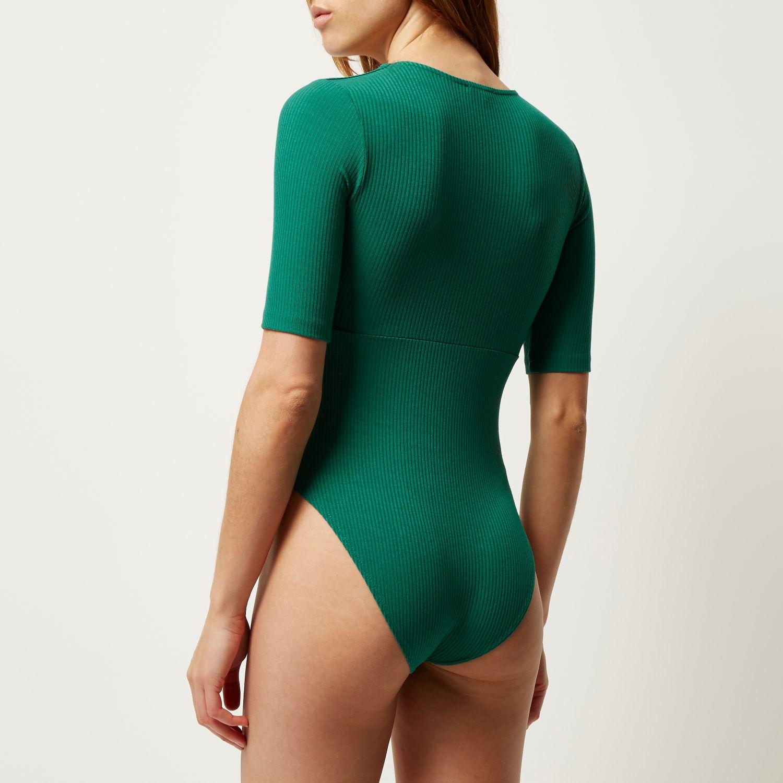 River island Green Plunge Bodysuit in Green