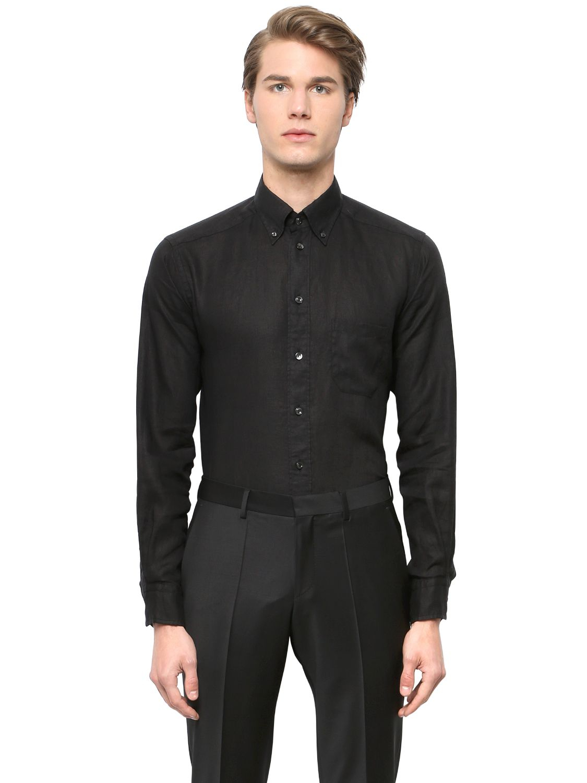 Eton of sweden Slim Fit Linen Button Down Shirt in Black for Men ...