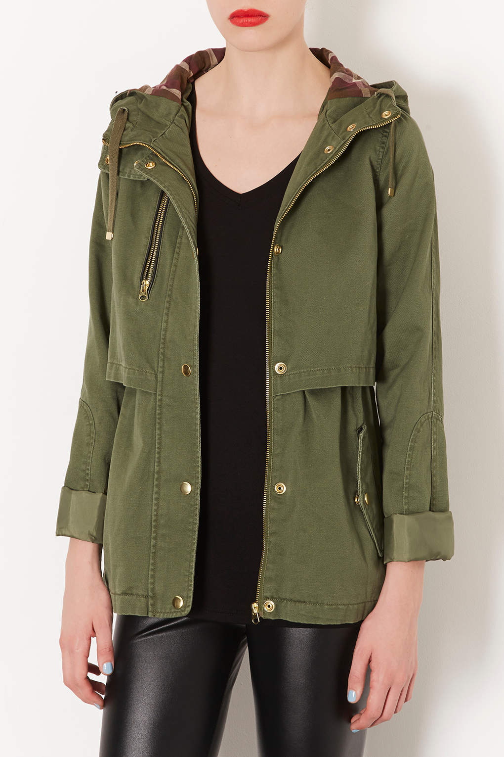Topshop Hooded Lightweight Jacket in Natural | Lyst