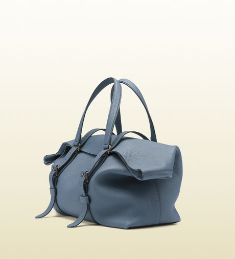 Gucci Leather Top Handle Duffle Bag in Blue for Men