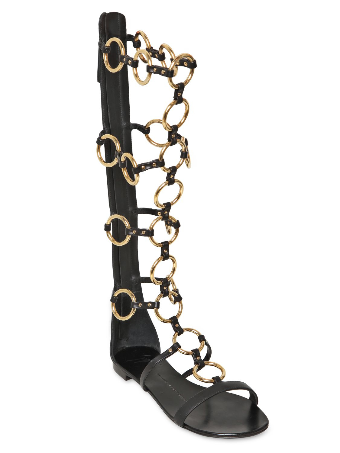 70269dbe654 Lyst - Giuseppe Zanotti 10mm Leather Chained Gladiator Sandal in Black