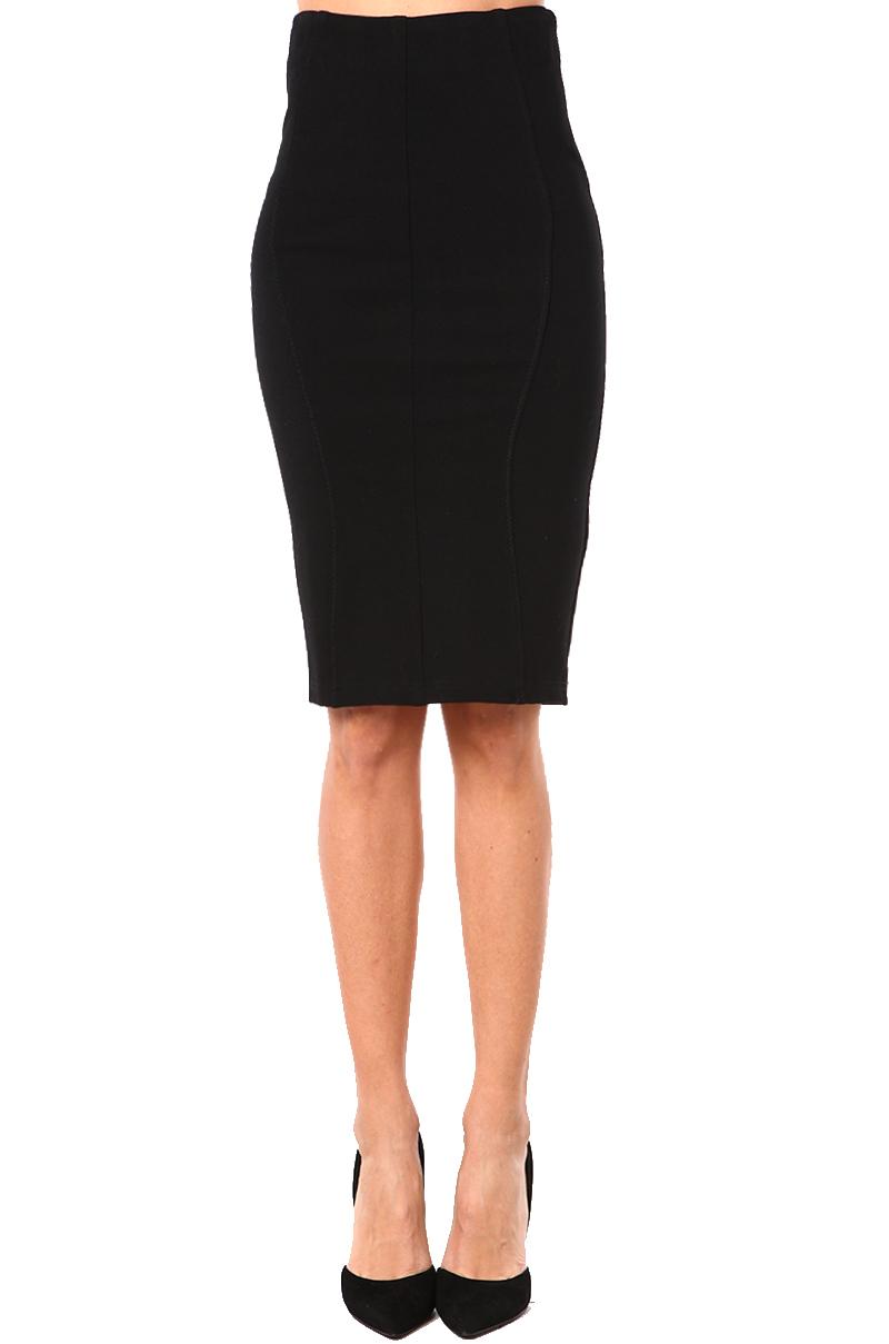 black label spandex pencil skirt in black