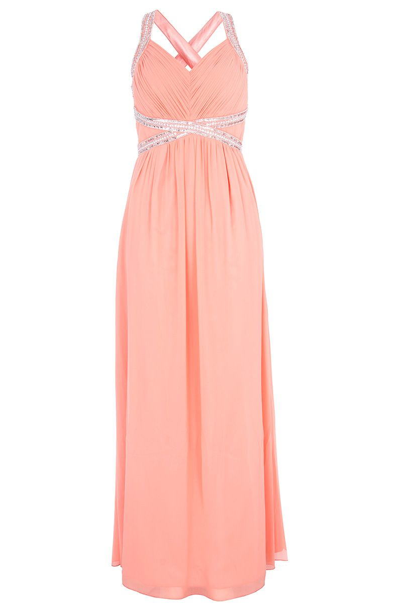 Lyst Quiz Coral Crossover Embellishment Maxi Dress In Pink
