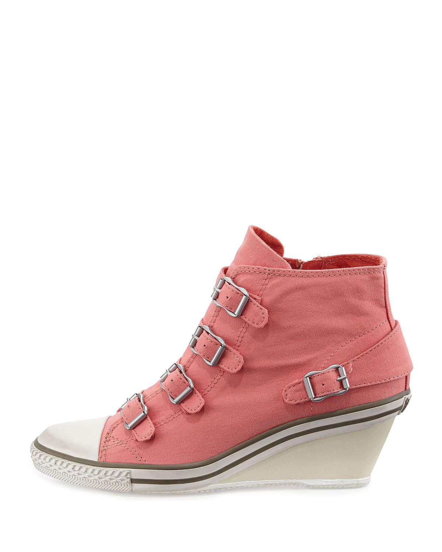 921c9b572052 Lyst - Ash Genialbis Buckled Wedge Sneakers in Gray