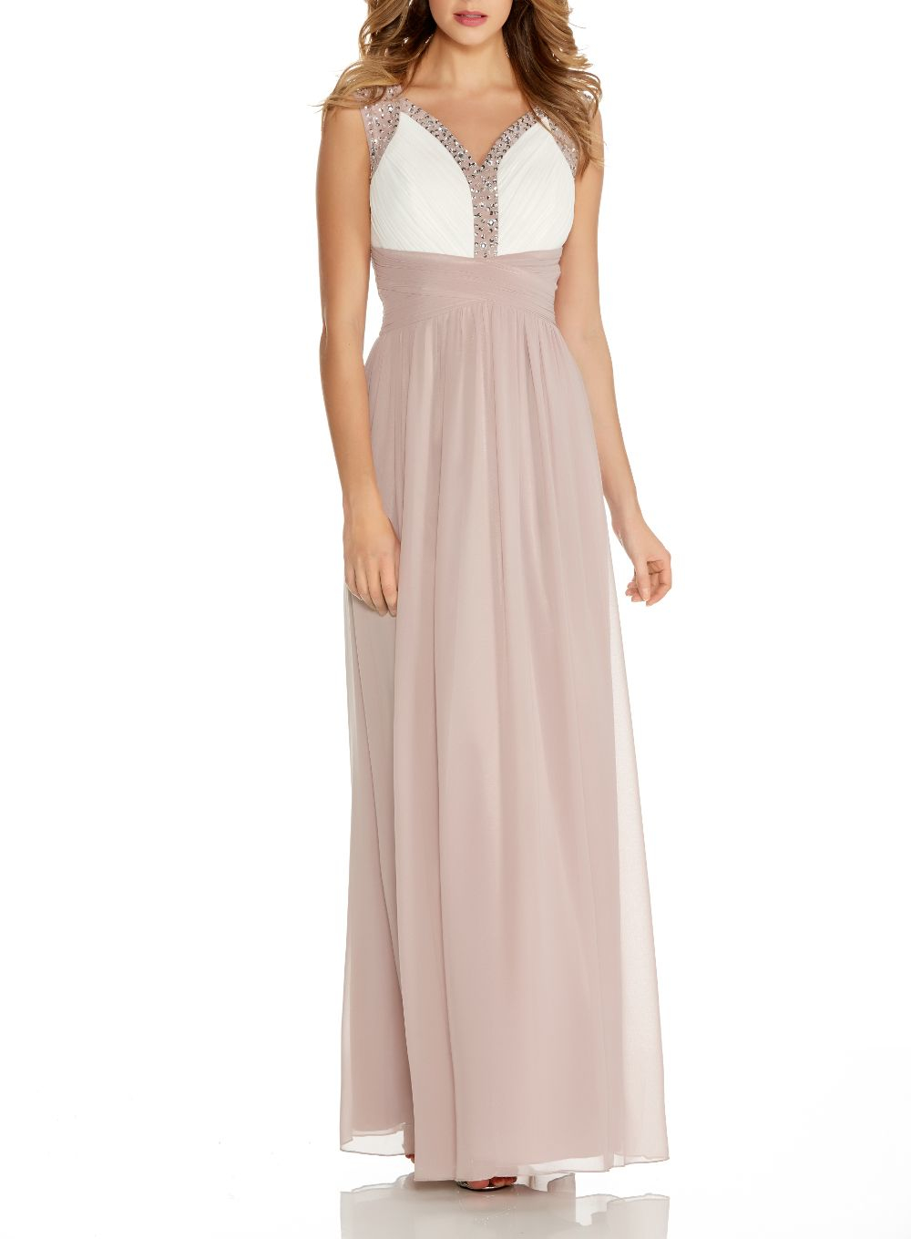 Quiz Mocha Embellished Maxi Dress In Natural Lyst