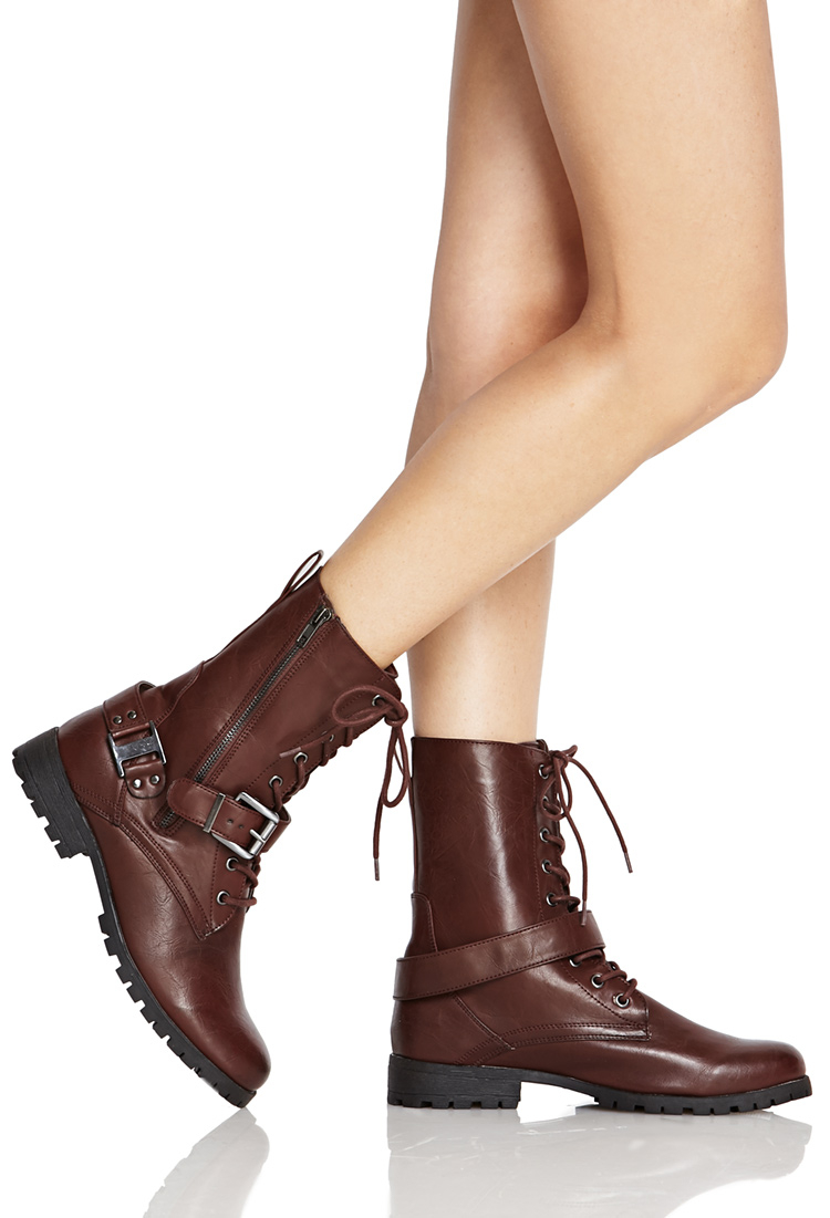 c2ab315c99c Lyst - Forever 21 Lace-up Buckled Combat Boots in Brown
