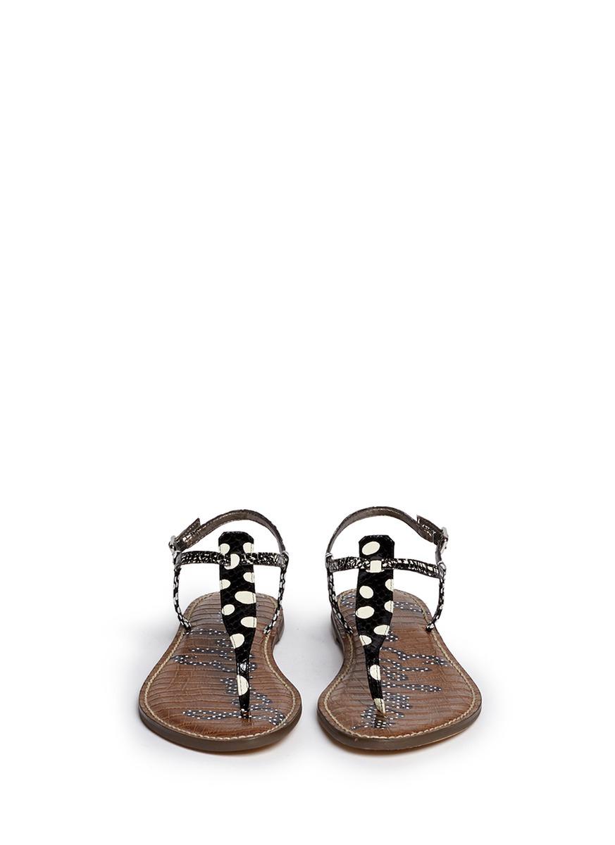 Sam Edelman Gigi Polka Dot Snake Effect Leather Sandals
