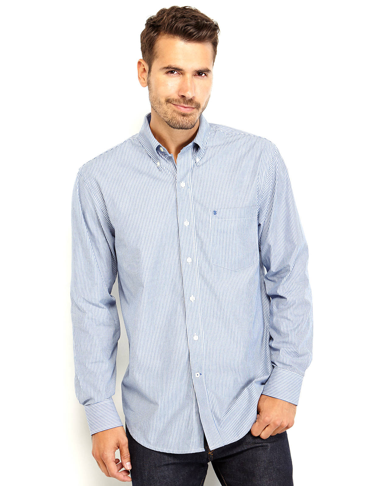 Izod Striped Button-down Shirt in Blue for Men | Lyst