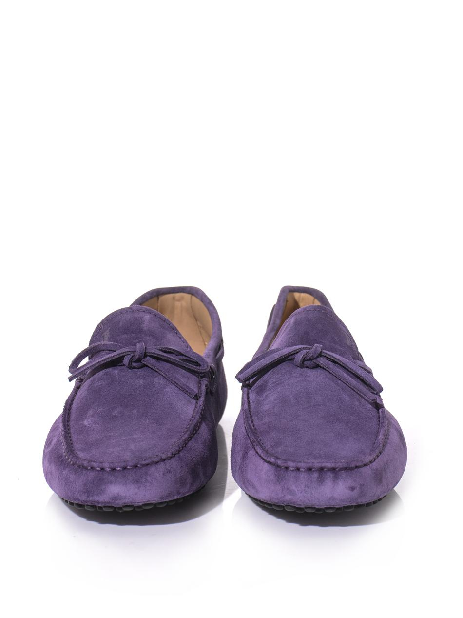 tod s suede driving shoes in purple for lyst