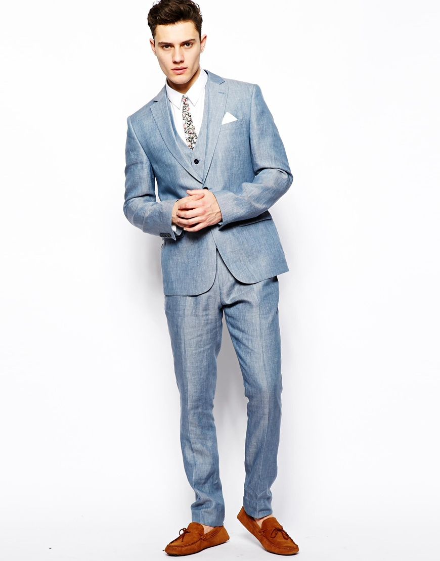 Asos Slim Fit Suit Jacket In 100% Linen in Blue for Men | Lyst