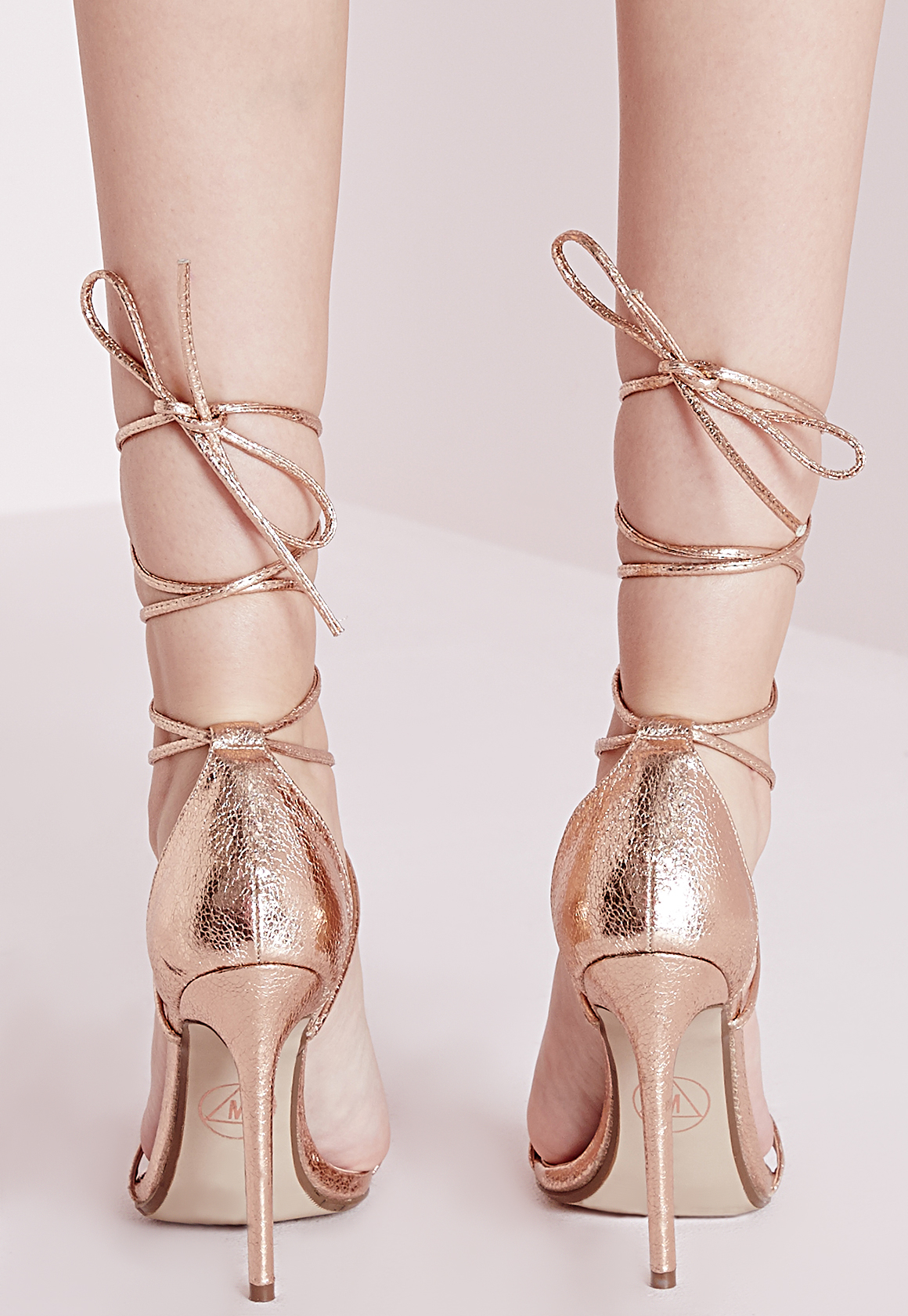 11464ff085 Missguided Lace Up Barely There Heeled Sandals Rose Gold in Metallic ...