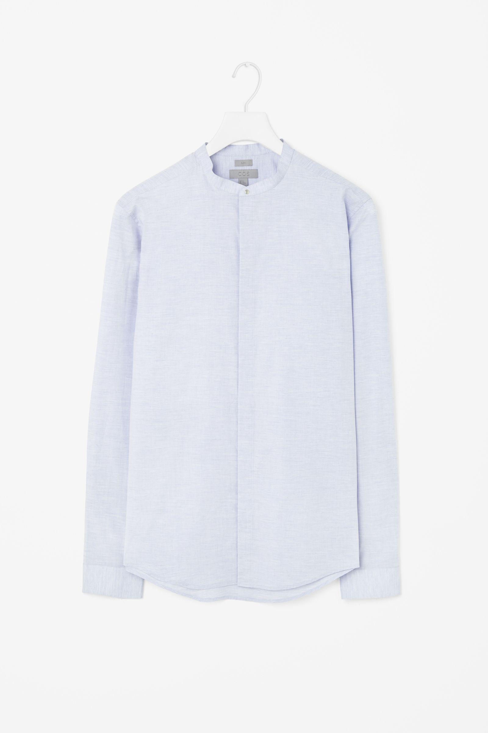 Cos grandad collar shirt in blue for men pale blue lyst Mens grandad collar shirt