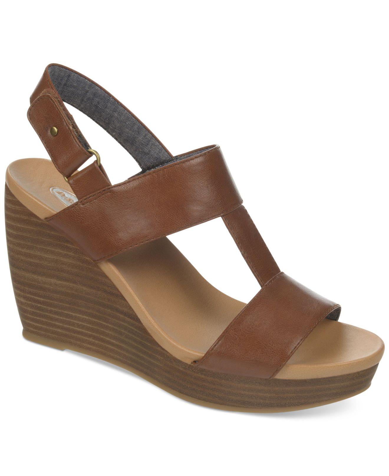 Lyst Dr Scholls Mica Platform Wedge Sandals In Brown