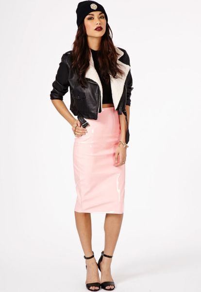 missguided mircia pvc midi skirt in baby pink in pink lyst