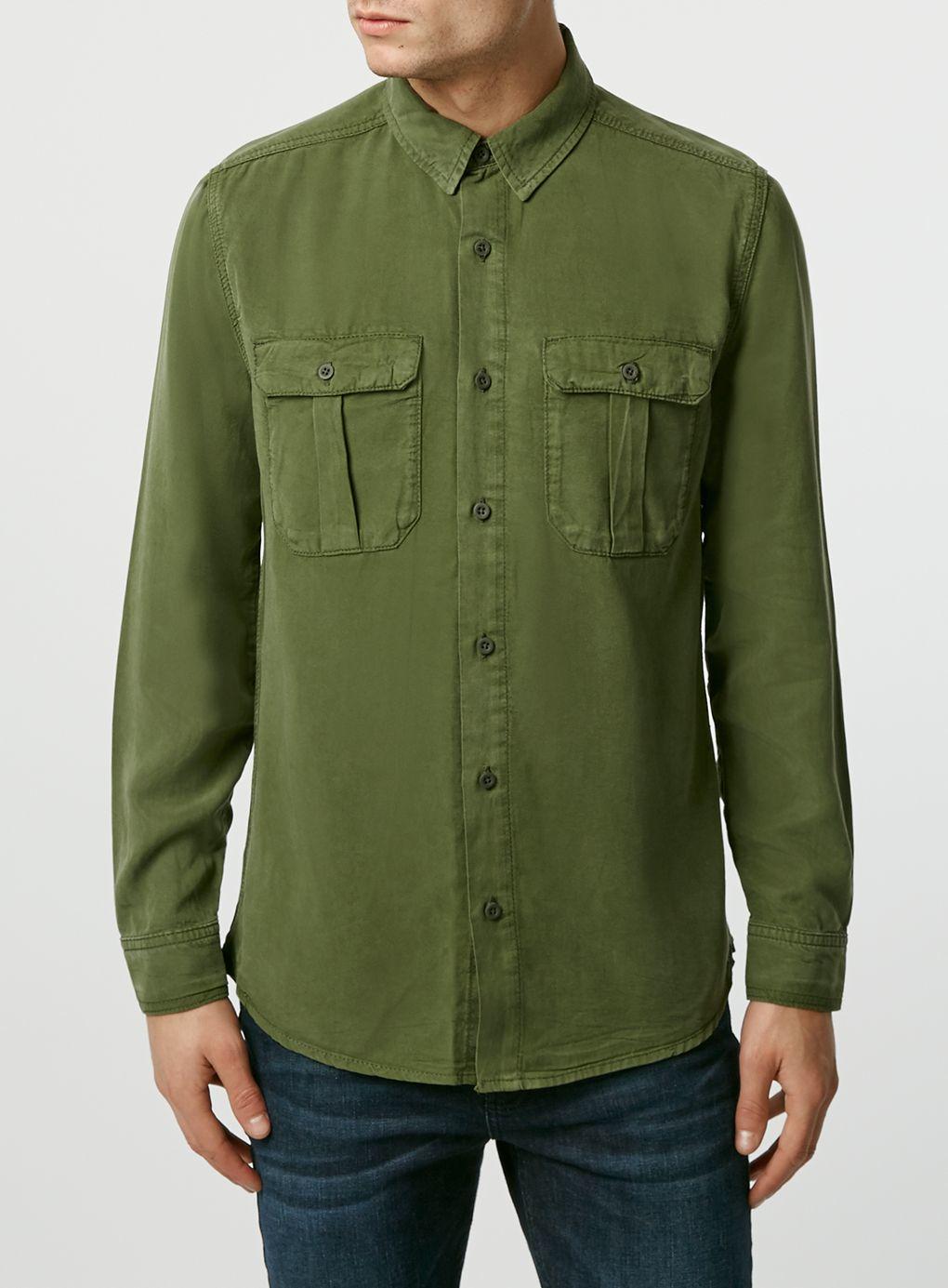 Topman long sleeve double pocket shirt in natural for men for Long sleeve pocket shirts