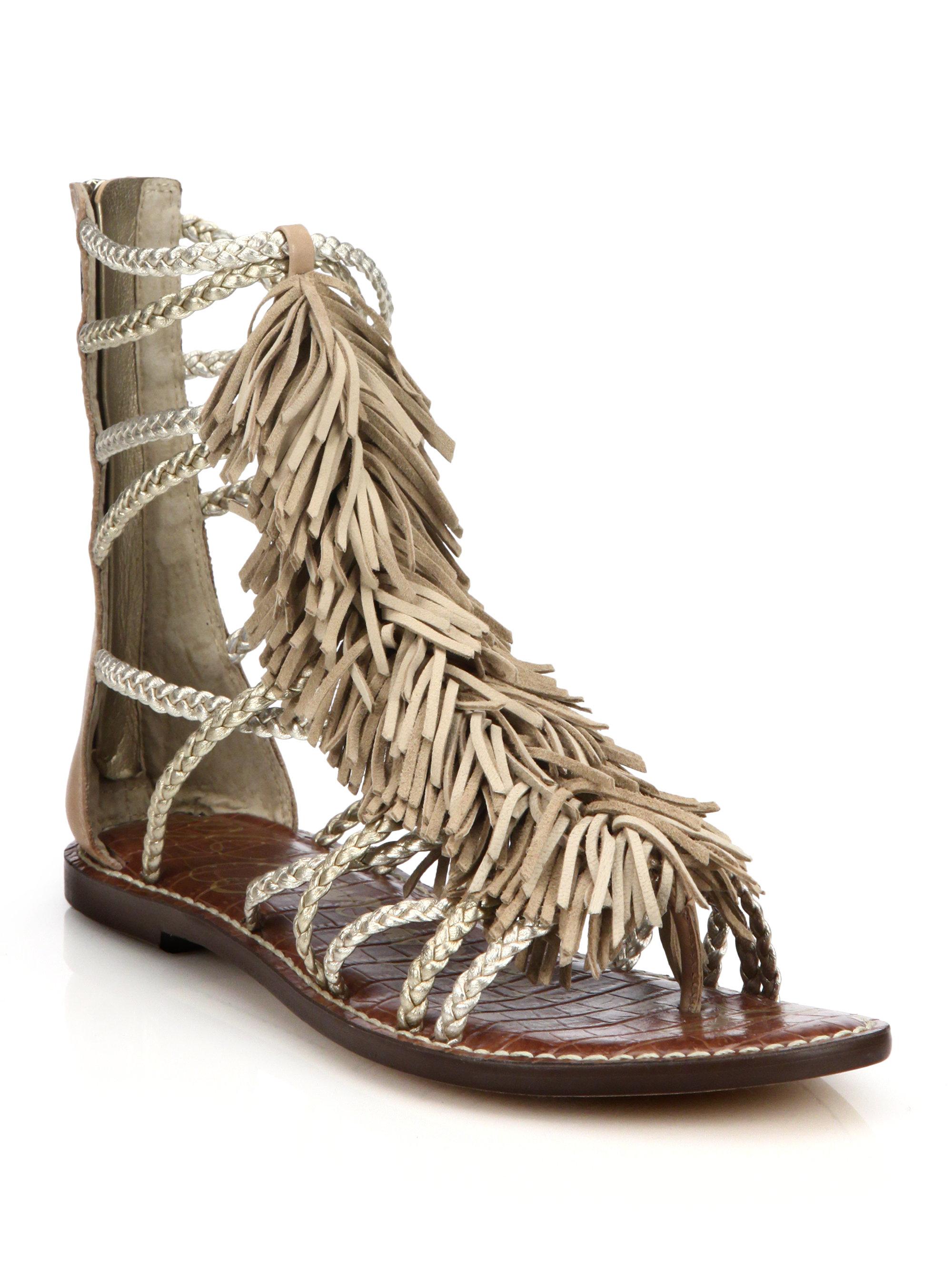 5adac9b39 Lyst - Sam Edelman Gisela Fringed Metallic Leather Gladiator Sandals ...