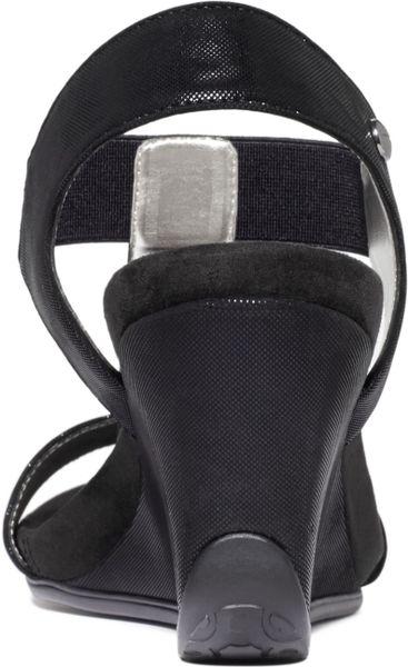Anne Klein Lofty Sport Wedge Sandals In Black Lyst