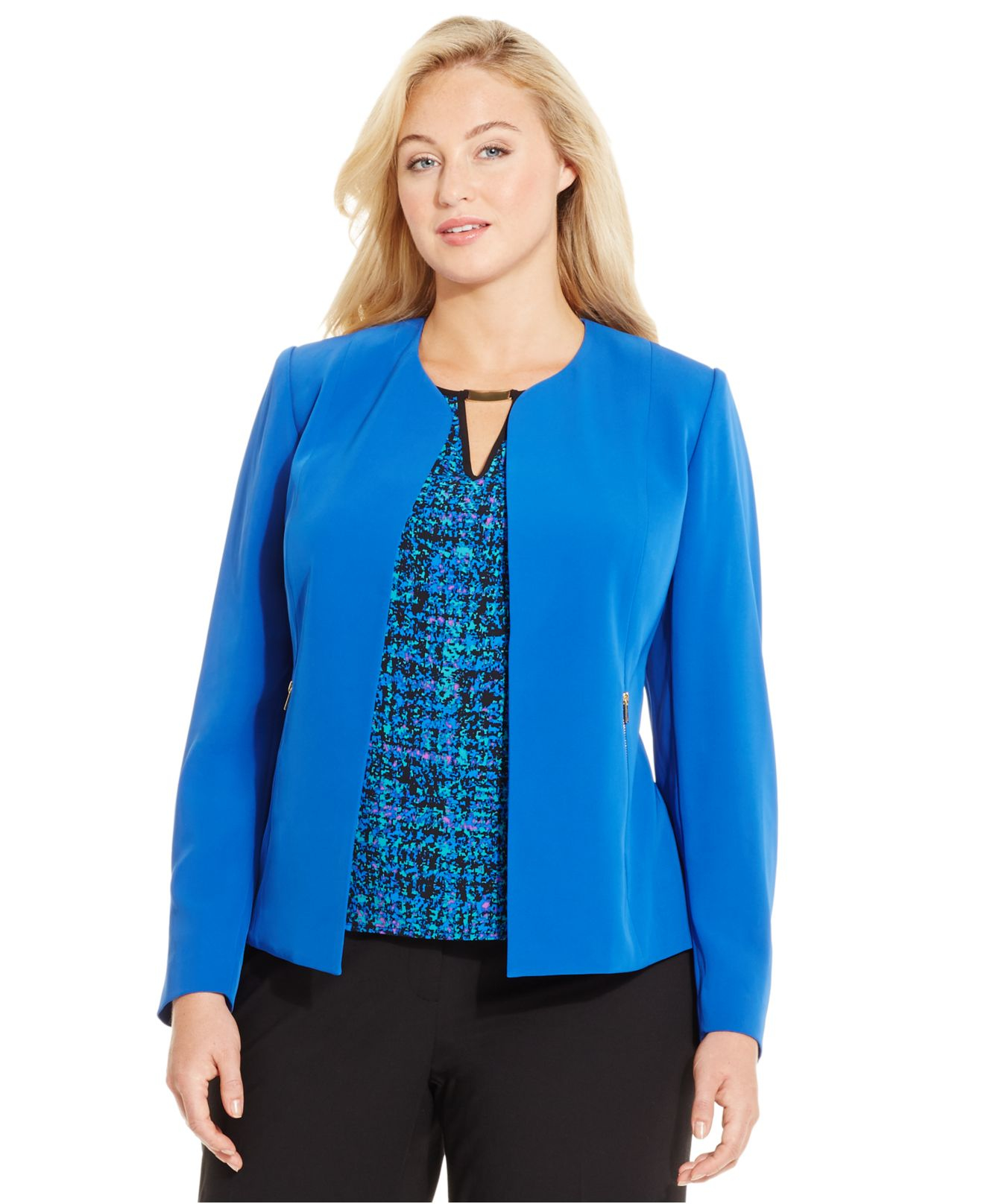 cf561734118 Lyst - Calvin Klein Plus Size Open-front Zip-pocket Jacket in Blue