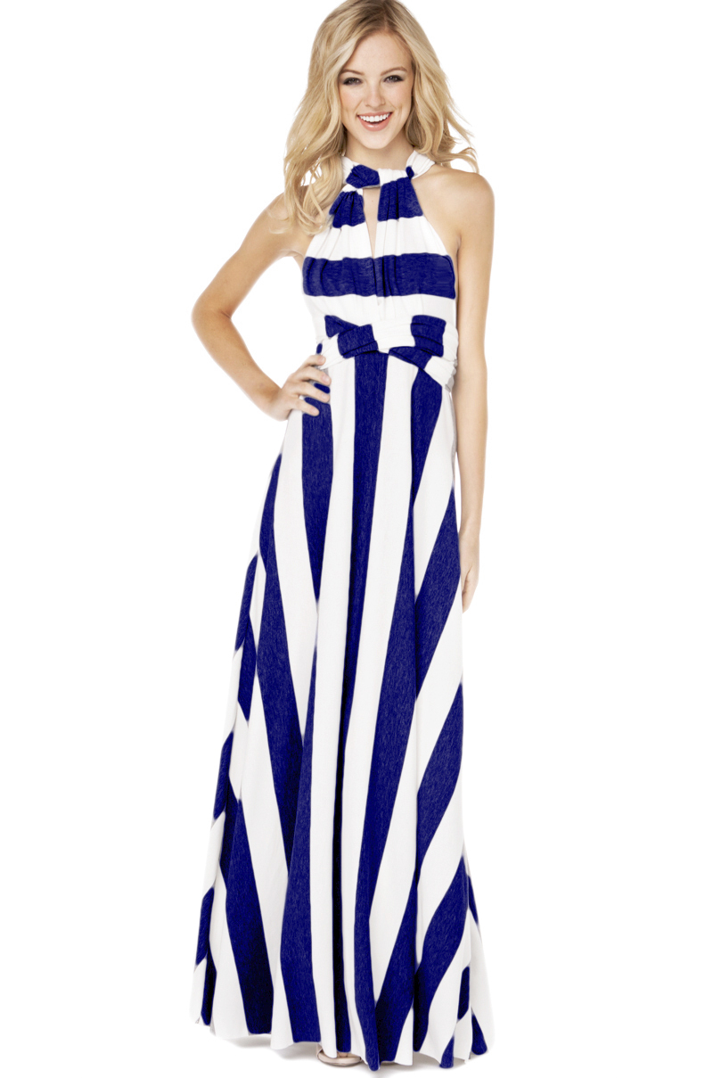 Lyst Akira Maxi Multi Function Dress In White Royal In Blue