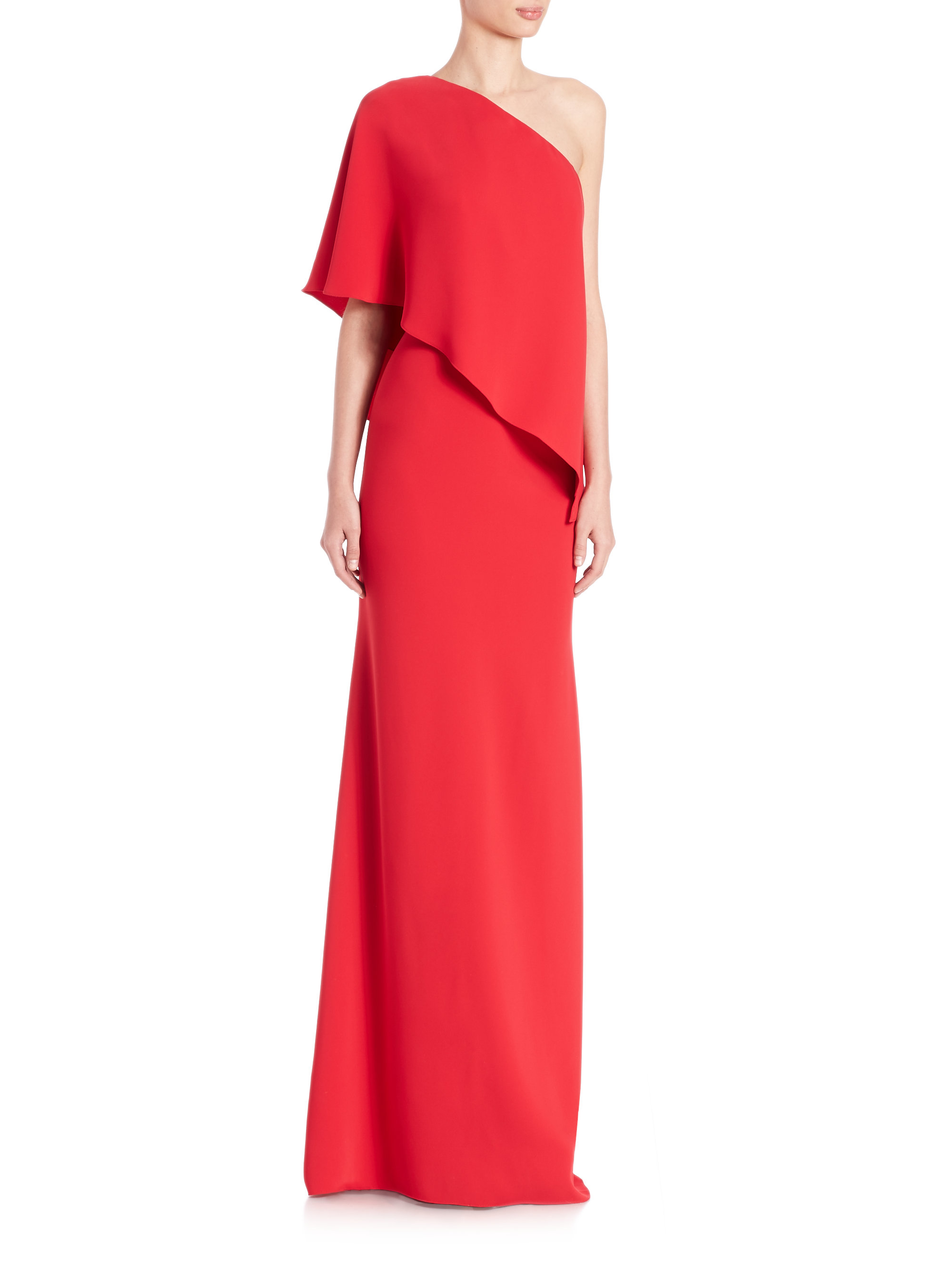 Lyst - Carmen Marc Valvo One-shoulder Crepe Maxi Gown in Red