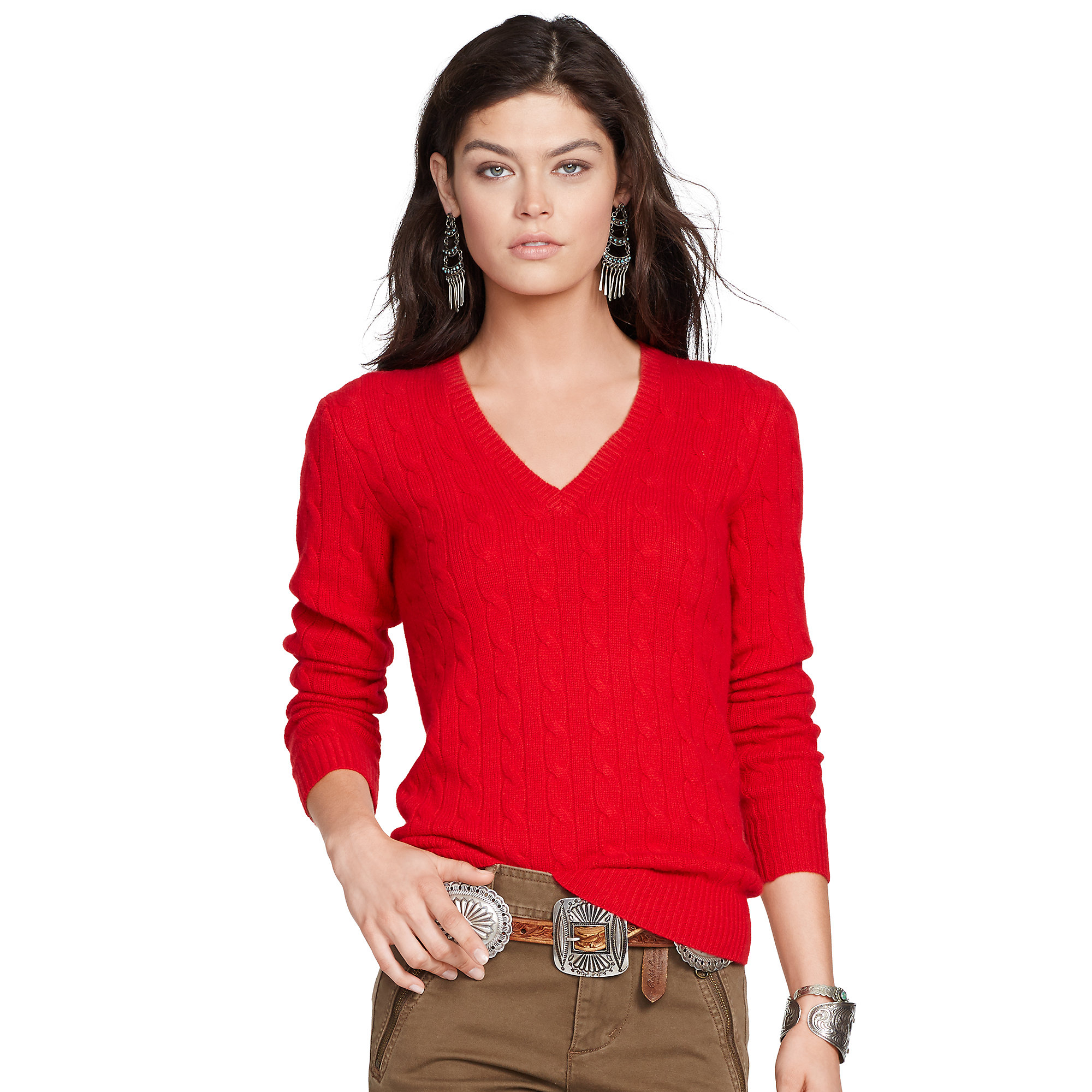 Polo ralph lauren Cabled Cashmere V-neck Sweater in Red | Lyst